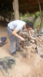 Hammering and shaping the metal
