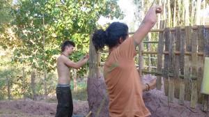Making bamboo wall